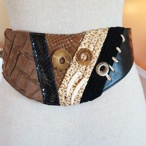 Vtg 80's Leather Ornate Gawdy Wide Adjustable Belt